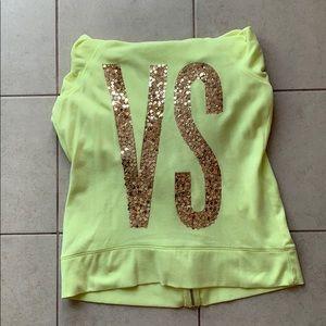 Neon Yellow Victoria's Secret Zip-Up Swearshirt